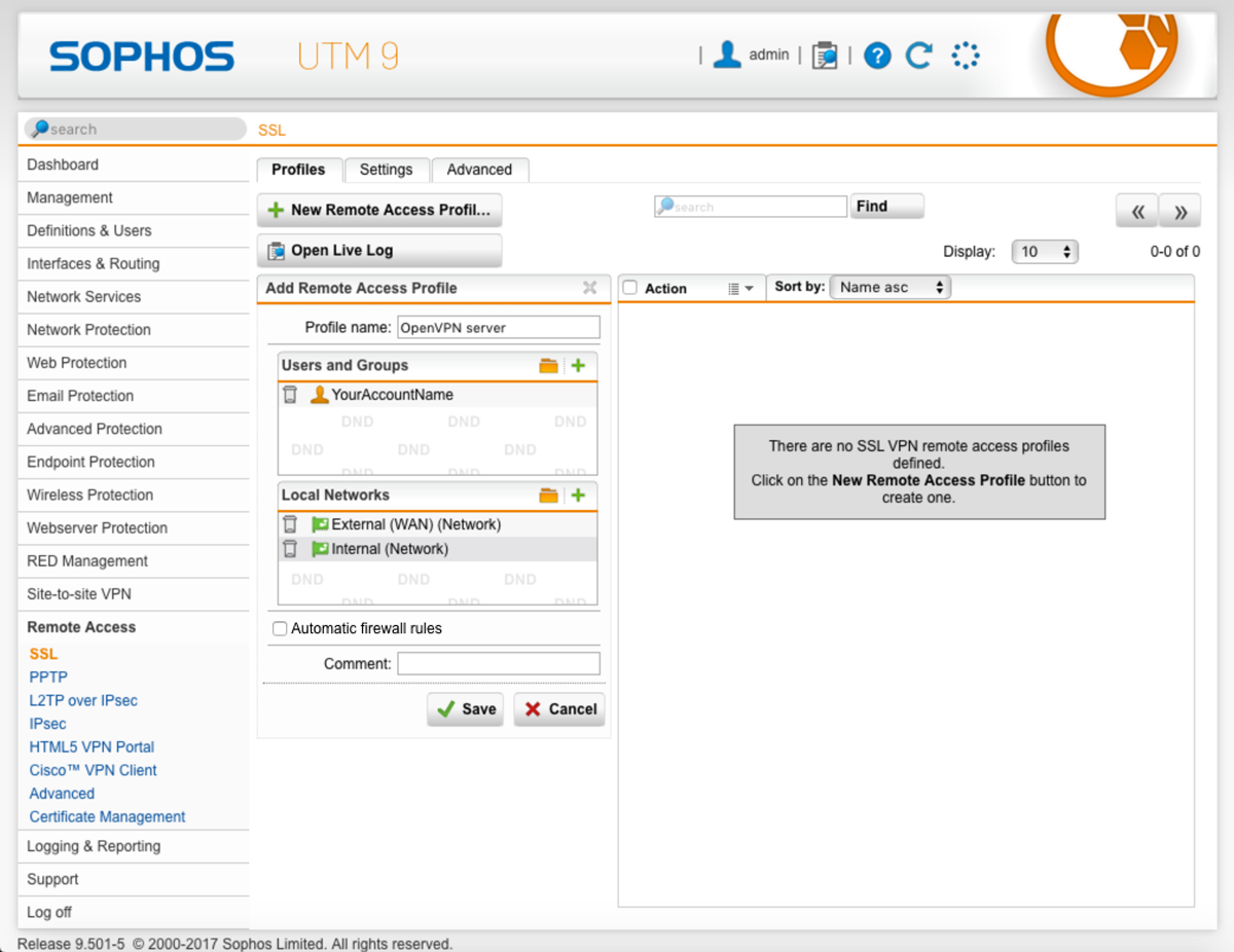 Setting up an OpenVPN server with Sophos UTM and Viscosity